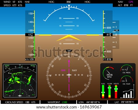 Airplane glass cockpit display with weather radar and engine gauges  - stock vector