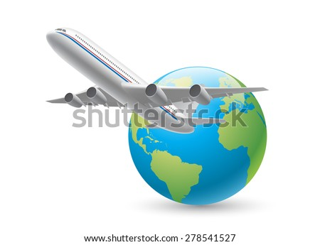 Airplane global flight - stock vector