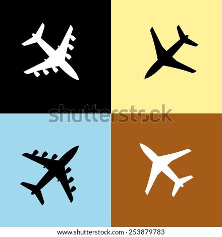 Airplane icon set - stock vector