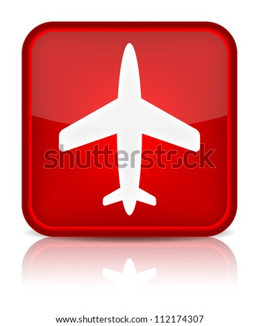 Airplane icon. Sign with reflection isolated on white. Vector illustration - stock vector