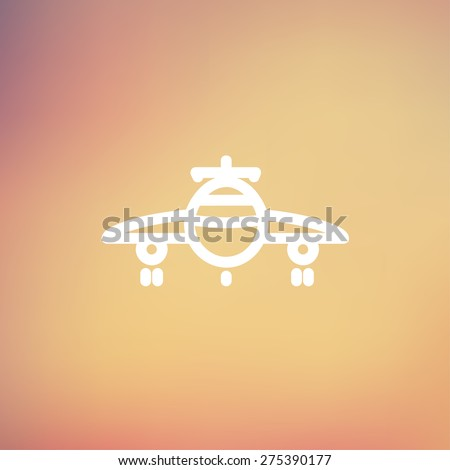 Airplane icon thin line for web and mobile, modern minimalistic flat design. Vector white icon on gradient mesh background. - stock vector