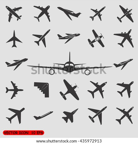 Airplane icons - stock vector