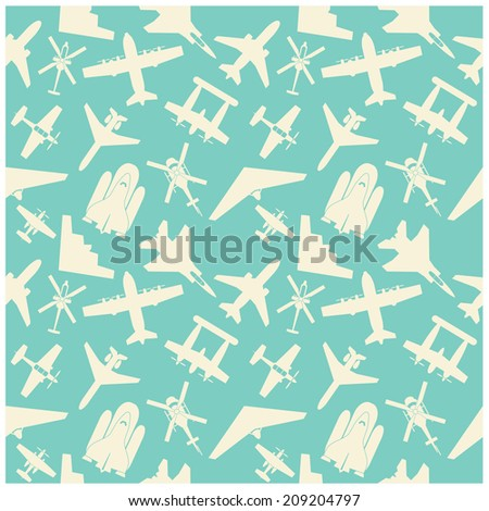 airplane  icons and  background, pattern - stock vector