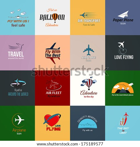 Airplane icons cards. Modern travel icons set. Vector - stock vector