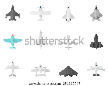 Airplane icons in flat color style - stock vector
