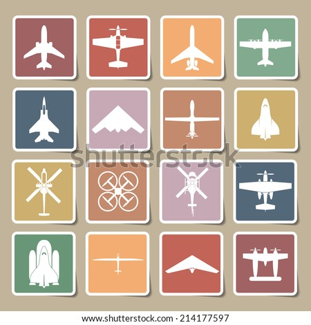 airplane icons set - stock vector