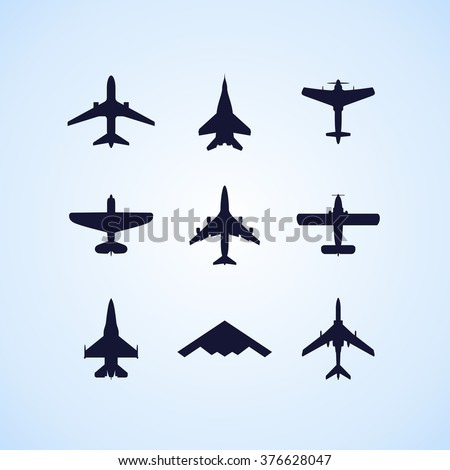 Airplane icons set: passenger plane, fighter plane and screw on blue background. Vector Illustration - stock vector