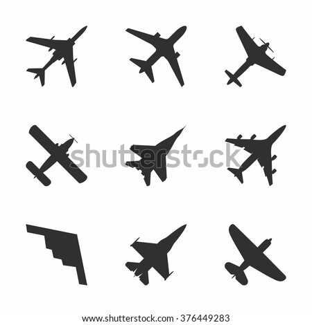 Airplane icons set: passenger plane, fighter plane and screw. Vector Illustration - stock vector