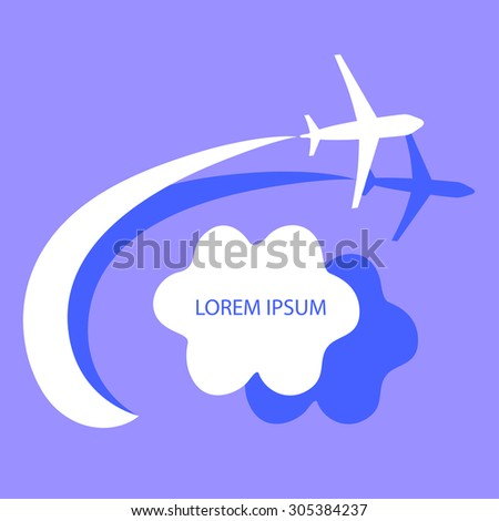 airplane in air near the cloud, blue sky, travel background in flat style, vector illustration - stock vector