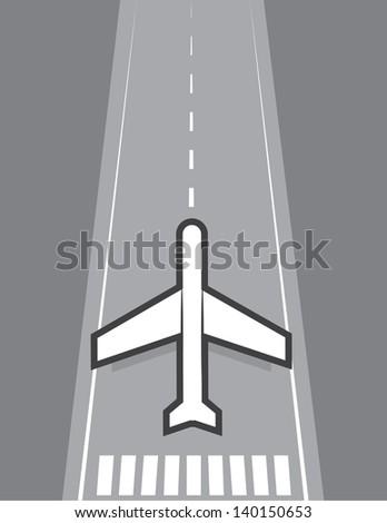 Airplane landing or taking off of runway  - stock vector