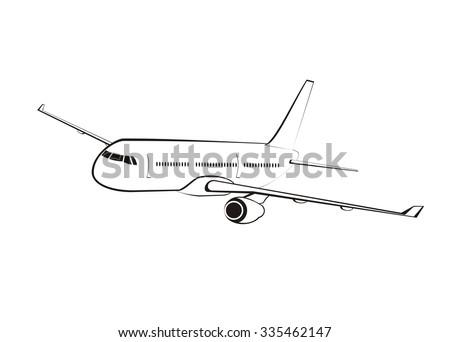 airplane line art - stock vector
