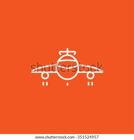 Airplane line icon for web, mobile and infographics. Vector white icon isolated on red background. - stock vector
