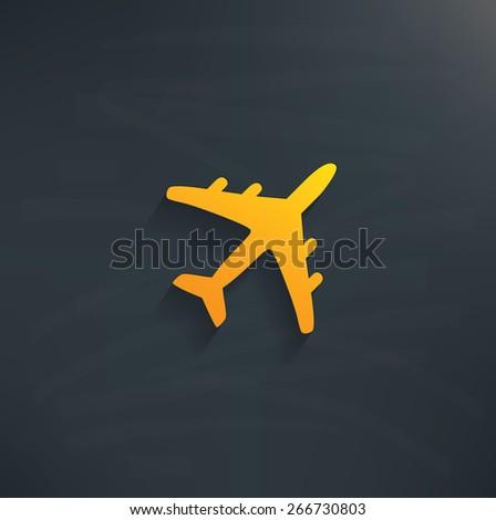 Airplane on blackboard background,clean vector - stock vector