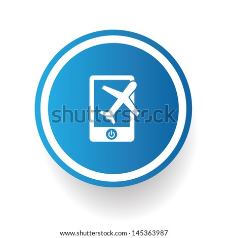 Airplane on mobile phone symbol,vector - stock vector