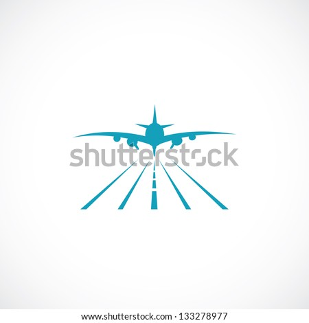 Airplane on runway - vector illustration - stock vector