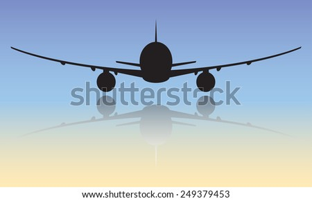 Airplane or aircraft black silhouette. Vector icon or sign.  - stock vector