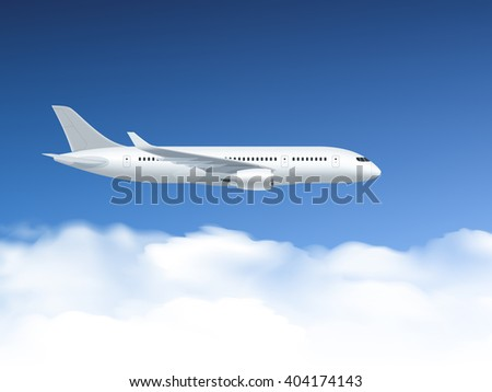 Airplane poster which flies at altitudes on a background of blue sky and clouds vector illustration - stock vector