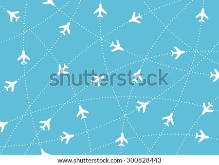 Airplane routes. Air travel. Air traffic - stock vector