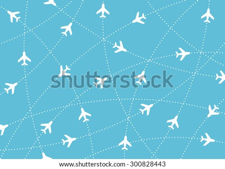 Airplane routes. Air travel. Air traffic silhouette. White airplanes isolated on blue background. Web site page and mobile app design element. - stock vector