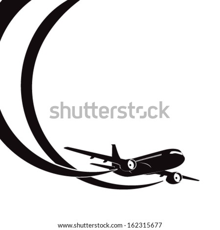 Airplane's silhouette on white background with place for text. EPS10 vector. - stock vector