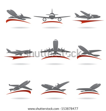 Airplane set. Vector  - stock vector