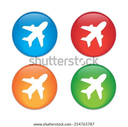 Airplane sign. Plane symbol. Travel icon. Flight flat label. - stock vector