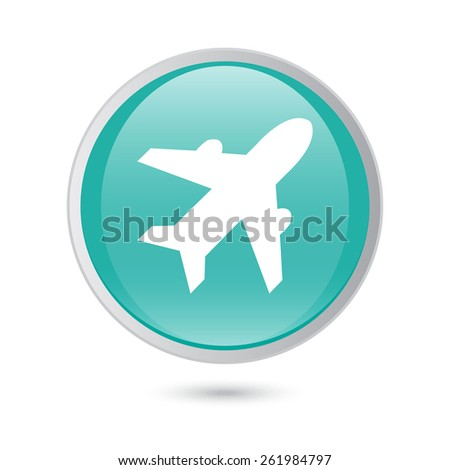 Airplane sign. Plane symbol. Travel icon. Flight flat label.  blue glossy button. - stock vector