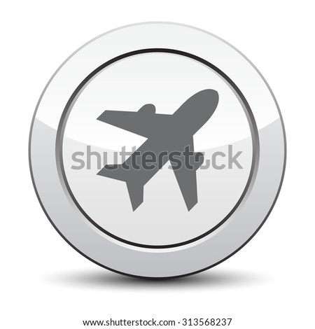 Airplane sign. Plane symbol. Travel icon. Flight flat label. silver button. - stock vector