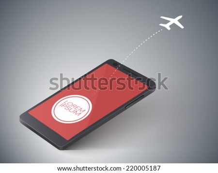 airplane silhouette flies out of the screen of a cell phone - stock vector