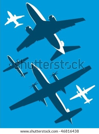 Airplane silhouettes in two colors. - stock vector