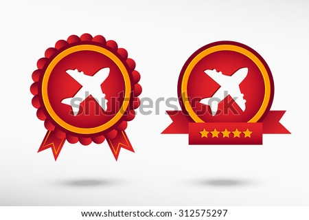 Airplane stylish quality guarantee badges. Colorful Promotional Labels - stock vector