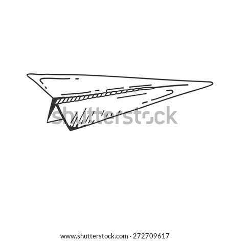 airplane symbol. Doodle style paper airplane icon. Hand drawn Sketch sign of airplane. Vector airplane. Airplane on white background. Eps 8 - stock vector