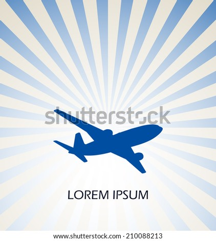 Airplane symbol vector - stock vector