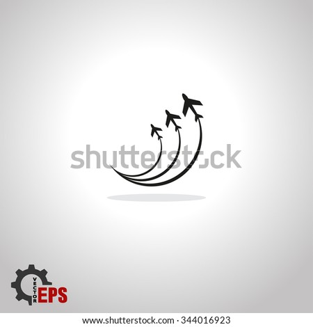 Airplane symbols icon,  vector illustration. Flat design style - stock vector