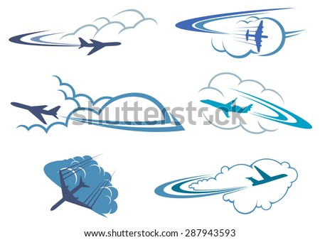Airplane symbols in the sky among white and blue clouds with curved traces for travel or transportation design, isolated on white background - stock vector