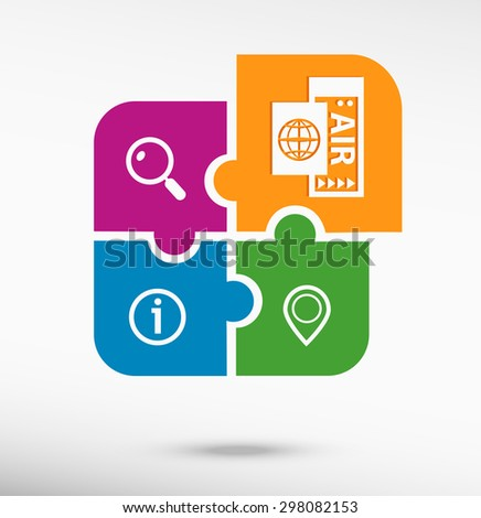 Airplane ticket icon on colorful jigsaw puzzle. Flat style - stock vector