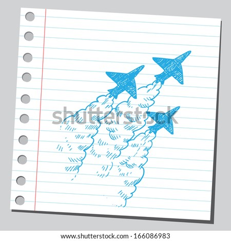 Airplane trails - stock vector