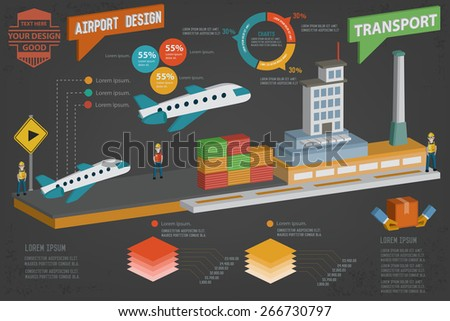 Airplane, transport design,three dimension,clean vector - stock vector