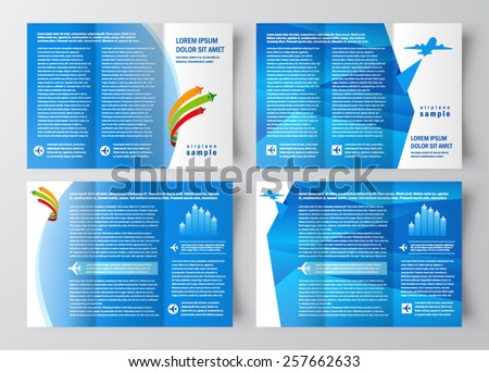 airplane transportation brochure design template vector tri-fold blue set - stock vector