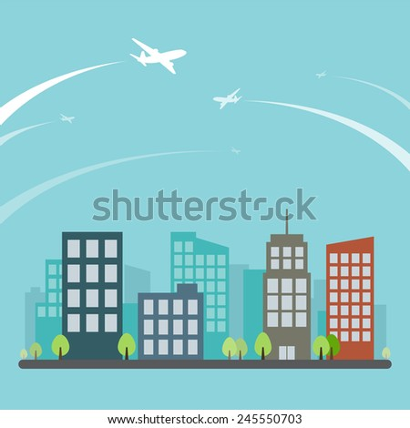 Airplane Travel Across Small Town - stock vector