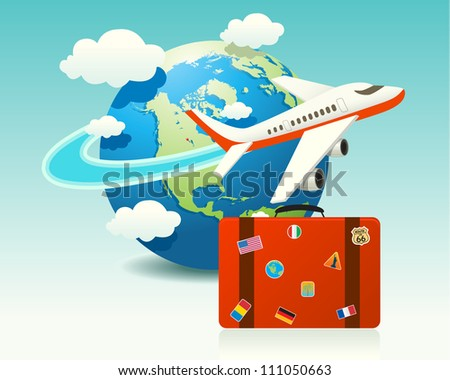 Airplane Travel with Luggage - stock vector