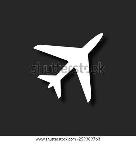 Airplane  - vector icon with shadow - stock vector