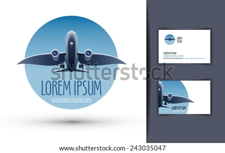 airplane vector logo design template. journey or travel icon. - stock vector