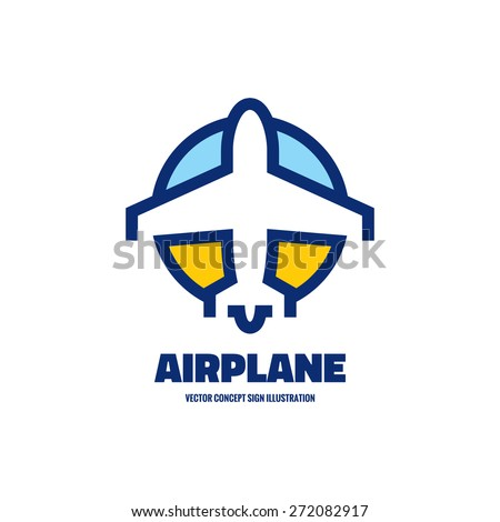 Airplane - vector logo template concept illustration. Aircraft sign for transportation or travel company. Line artwork. Design elements. - stock vector
