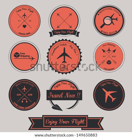 Airplane Vintage Label Design - stock vector