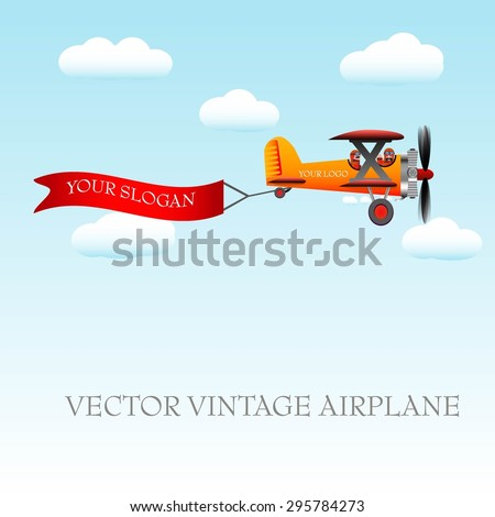 Airplane vintage with banner for your slogan. Vector illustration. - stock vector