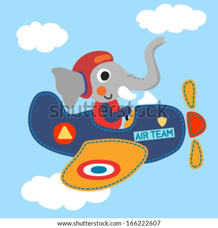 Airplane with a cute elephant. Vector illustration - stock vector