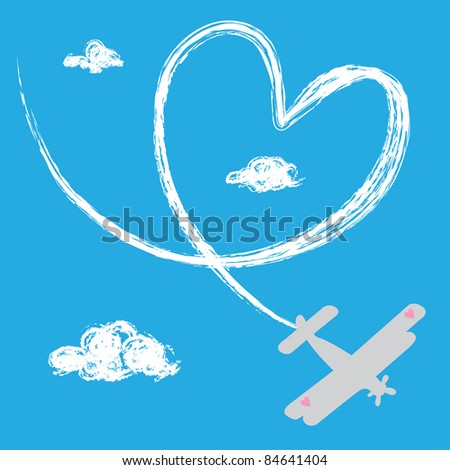 Airplane with heart track in the sky - stock vector