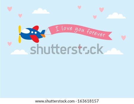 airplane with i love you forever banner in valentine - stock vector