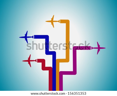 Airplanes and lines - stock vector